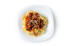Lagad mat pasta på en vit bakgrundsisolat Fotografering för Bildbyråer