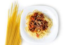 Lagad mat pasta på en vit bakgrundsisolat Royaltyfria Bilder
