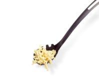 Lagad mat spiral pasta på spagettiskedcloseupen Fotografering för Bildbyråer