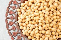 Lagade mat kikärtar på en bunke Kikärtar är näringsrik mat hälsa Arkivbilder