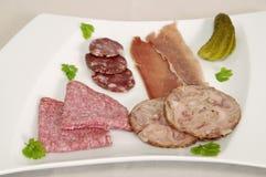 lagade mat meats plate pork Arkivbild