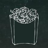 Lagade mat räkor i pappers- ask Havssnabbmat i packe Skissar den realistiska handen dragen klotterstil också vektor för coreldraw vektor illustrationer