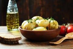 Lagade mat unga potatisar Fotografering för Bildbyråer
