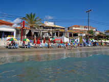 Laganas Beach, Zakynthos, Greece. Laganas beachfront, with beach chairs, cafes and tavernas, on Zakynthos, an Ionian Greek Island, Greece stock photo