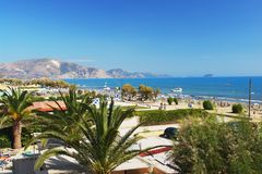 Laganas, Zakynthos. View of the beach in Laganas, Zakynthos stock photos