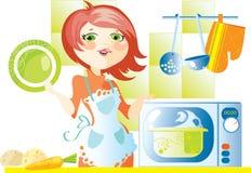 lagar mat matmikrovågkvinnan Arkivfoton