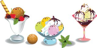 lagar mat med grädde issorter flera Vektor Illustrationer