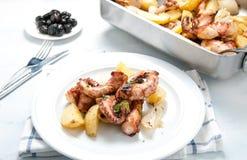 Lagareiro d'alla de Polpo un plat portugais typique avec des pommes de terre Images libres de droits