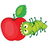 A lagarta dos desenhos animados rói a maçã Fotos de Stock
