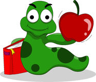 Lagartas com livros e maçã Fotografia de Stock Royalty Free