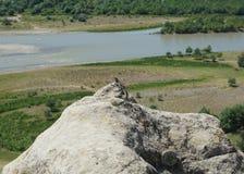 Lagarto de piedra de Uplistsikhe en un pico fotos de archivo