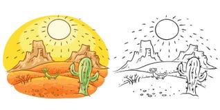 Lagarto y cactus en el desierto, dibujo de la historieta de la historieta, coloreado y blanco y negro Imagen de archivo libre de regalías