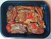 Lagat mat köttmagasin arkivbild