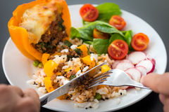 Lagat mat peppar med kött och grönsaker Royaltyfria Foton