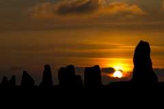 Lagatjar Monoliths at sunset. Camaret-sur-mer, Finistere, Brittany, France stock photos