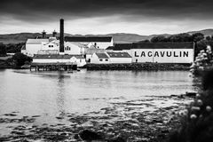 The Lagavulin Distillery in Black and White. The famed Lagavulin Distillery on the Isle of Islay, Scotland Stock Photography