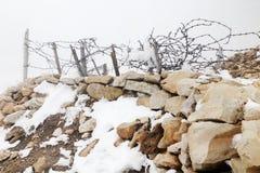 Lagazuoi战争场面,白云岩,意大利 免版税图库摄影
