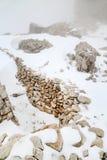 Lagazuoi战争场面,白云岩,意大利 免版税库存照片