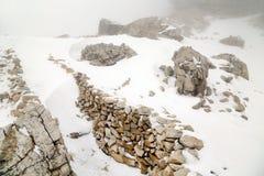 Lagazuoi战争场面,白云岩,意大利 库存图片