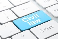 Lagbegrepp: Civilrätt på datortangentbordet Royaltyfri Foto