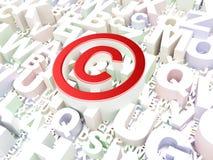 Lagbegrepp: Copyright på alfabetbakgrund Arkivbild