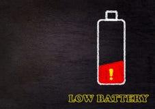 Lage Batterij, Vermoeid Concept stock afbeeldingen