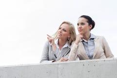 Lage hoekmening van gelukkige jonge onderneemster die iets tonen aan collega terwijl status op terras tegen hemel Royalty-vrije Stock Fotografie