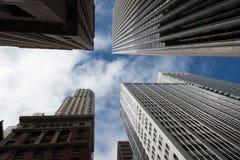 Lage hoekmening van wolkenkrabbers, San Francisco Stock Foto