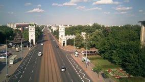 Lage hoogte luchtmening van Poniatowskiego-brug in Warshau, Polen Stock Fotografie