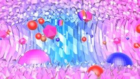 Lage poly abstracte achtergrond met moderne gradiëntkleuren Blauwe violette 3d oppervlakte met net en 3d voorwerpen V4 Stock Afbeelding