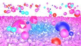 Lage poly abstracte achtergrond met moderne gradiëntkleuren Blauwe violette 3d oppervlakte met net en 3d voorwerpen V7 Royalty-vrije Stock Fotografie