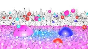 Lage poly abstracte achtergrond met moderne gradiëntkleuren Blauwe violette 3d oppervlakte met net en 3d voorwerpen V8 Stock Afbeelding