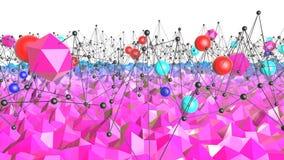 Lage poly abstracte achtergrond met moderne gradiëntkleuren Blauwe violette 3d oppervlakte met net en 3d voorwerpen V9 Stock Afbeeldingen