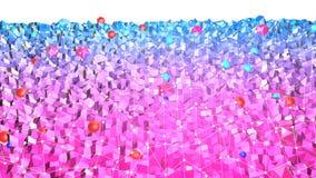 Lage poly abstracte achtergrond met moderne gradiëntkleuren Blauwe violette 3d oppervlakte met net en 3d voorwerpen V10 Royalty-vrije Stock Afbeelding