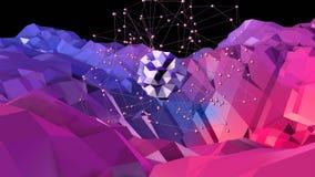 Lage poly abstracte achtergrond met moderne gradiëntkleuren Rode blauwe 3d oppervlakte met net en 3d voorwerpen in lucht V1 Royalty-vrije Stock Foto