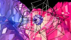 Lage poly abstracte achtergrond met moderne gradiëntkleuren Rode blauwe 3d oppervlakte met net en 3d voorwerpen in lucht V5 Royalty-vrije Stock Foto
