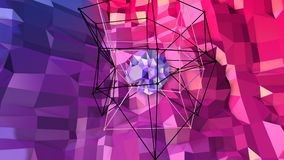 Lage poly abstracte achtergrond met moderne gradiëntkleuren Rode blauwe 3d oppervlakte met net en 3d voorwerpen in lucht V2 Stock Foto's