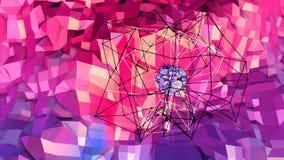 Lage poly abstracte achtergrond met moderne gradiëntkleuren Rode blauwe 3d oppervlakte met net en 3d voorwerpen in lucht V8 Stock Afbeeldingen