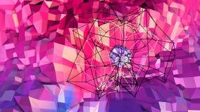 Lage poly abstracte achtergrond met moderne gradiëntkleuren Rode blauwe 3d oppervlakte met net en 3d voorwerpen in lucht V7 Royalty-vrije Stock Foto's