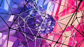 Lage poly abstracte achtergrond met moderne gradiëntkleuren Rode blauwe 3d oppervlakte met net en 3d voorwerpen in lucht V6 Stock Afbeelding