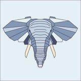 Lage poly blauwe olifant vector illustratie