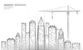 Lage poly de bouw in aanbouw kraan Industriële moderne bedrijfstechnologie Abstracte veelhoekige geometrische 3D stock illustratie