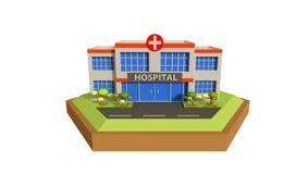 Lage poly het ziekenhuisscène, 3d illustratie stock illustratie