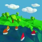 Lage poly met vele kleine zeilboten op het meer Stock Afbeelding