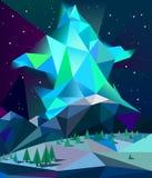 Lage poly noordelijke lichten over bergen in de vector van de de winternacht Royalty-vrije Stock Fotografie