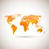 Lage poly oranje vectorwereldkaart Stock Afbeeldingen