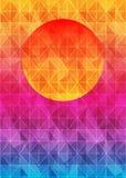Lage polydriehoeks geometrische achtergrond met zon over zonsondergang Veelkleurige veelhoekige vectorillustratie, wat uit drieho Royalty-vrije Stock Foto's