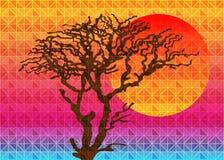 Lage polydriehoeks geometrische achtergrond met zon over zonsondergang Veelkleurige veelhoekige vectorillustratie, wat uit drieho Royalty-vrije Stock Foto