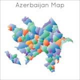 Lage polykaart van azerbaijan stock illustratie