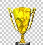Lage polytrofee transparante achtergrond met tra, kampioen, winnaarconcept, Vector stock illustratie